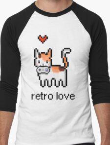 8 bit retro kitty Men's Baseball ¾ T-Shirt