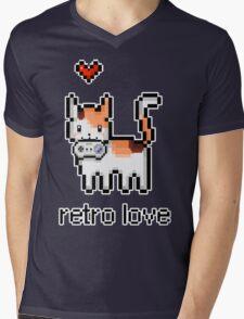 8 bit retro kitty Mens V-Neck T-Shirt