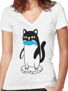 Penguin Cat Women's Fitted V-Neck T-Shirt