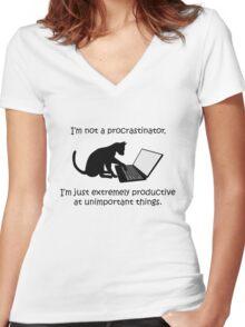 I'm Not a Procrastinator - Cat Women's Fitted V-Neck T-Shirt