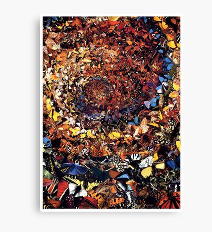 """Rainbow Tornado Of Butterflies"" Collage Canvas Print"