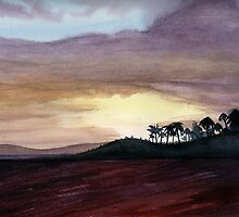 PURPLE HAZE 3- Kauai, Hawaii Shoreline- Watercolor by Dennis Knecht