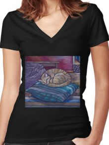 cat on a cushion  Women's Fitted V-Neck T-Shirt