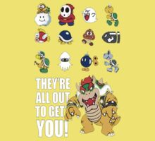 """They're All Out To Get You!"" Mario Characters Design One Piece - Short Sleeve"