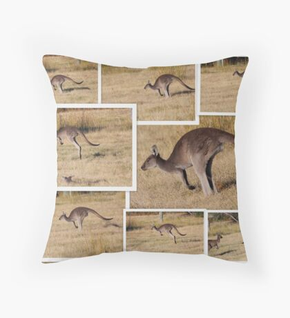 Kangaroos  Hopping Throw Pillow