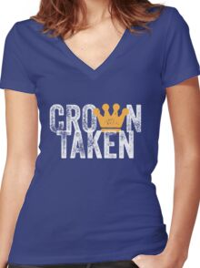 Crown Taken Women's Fitted V-Neck T-Shirt