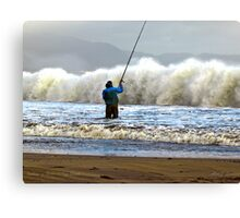 Shore Fishing Ballinskelligs Beach, Co Kerry Canvas Print