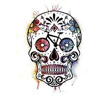 Watercolor cycling sugar skull Photographic Print