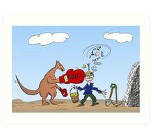 Binary Options News Cartoon AUD Boxing Kangaroo Taxes Mines Art Print