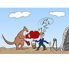 Binary Options News Cartoon AUD Boxing Kangaroo Taxes Mines Photographic Print