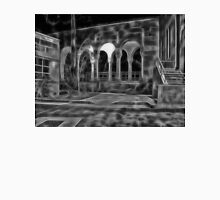 Beautiful courtyard with arches in black and white Unisex T-Shirt