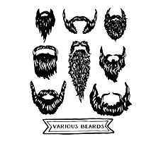 Field guide to beards - Various Beards Photographic Print