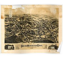 Panoramic Maps View of South Manchester Conn 1880 Poster