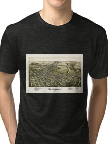 Panoramic Maps Meyersdale Pennsylvania Tri-blend T-Shirt