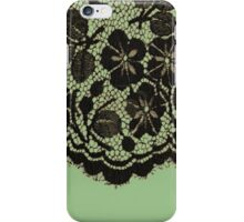 Black lace on green iPhone Case/Skin