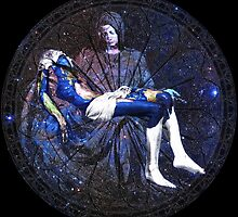 Earth Pietà (Michelangelo) Through Notre Dame Stained Glass Rosette. by O O