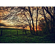 English Countryside Sunset HDR  Photographic Print