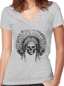 Vintage Chief Skull Design Women's Fitted V-Neck T-Shirt