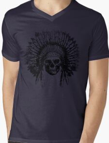 Vintage Chief Skull Design Mens V-Neck T-Shirt