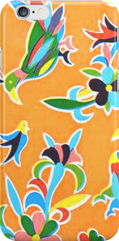 Orange folk birds and flowers by BettyBanana