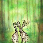 Happy Easter Deer by Carrie Jackson
