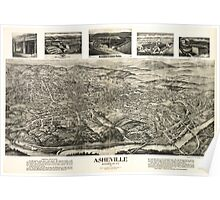 Panoramic Maps Asheville Buncombe Co NC 1912 Poster