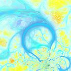 Streams of Joy - Cosmic Aqua & Lemon by Diane Clancy