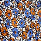 Vintage Daisies in Orange and Blue by BettyBanana