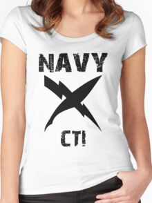 US Navy CTI Insignia - Black Women's Fitted Scoop T-Shirt