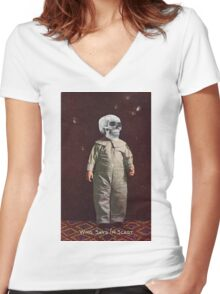 Who Says I'm Scart? (Vintage Halloween Card) Women's Fitted V-Neck T-Shirt