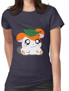 Hamtaro with Leaf Womens Fitted T-Shirt