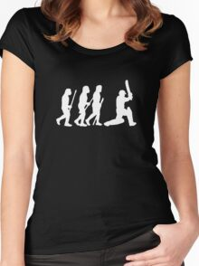 evolution of cricket white silhouette Women's Fitted Scoop T-Shirt