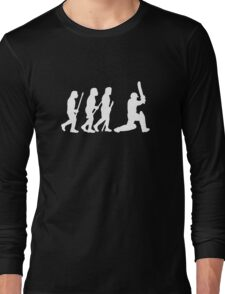 evolution of cricket white silhouette Long Sleeve T-Shirt