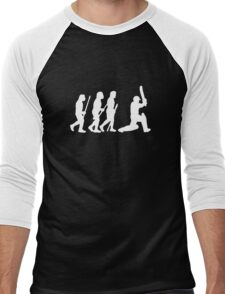 evolution of cricket white silhouette Men's Baseball ¾ T-Shirt