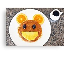 Happy Mouse pancakes with fresh fruit Canvas Print