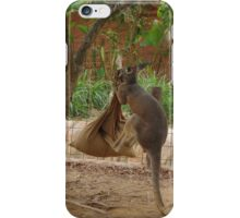 Kangaroo kicking a sack. iPhone Case/Skin