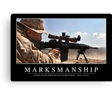 Marksmanship: Inspirational Quote and Motivational Poster Canvas Print
