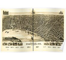 Panoramic Maps Perspective map of the city of Evansville Ind 1888 Poster