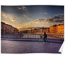 A Bike over the River Arno in Pizza, Italy Poster
