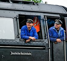 German steam locomotive crew, 2010 by David A. L. Davies