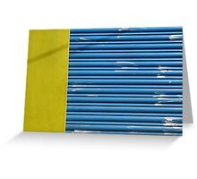 Yellow texture, blue lines, white hand marks Greeting Card