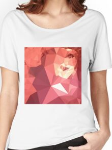 Bittersweet Red Abstract Low Polygon Background Women's Relaxed Fit T-Shirt