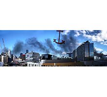 Boat fire smoke over the city Photographic Print