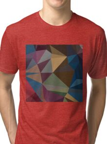 Blue Sapphire Abstract Low Polygon Background Tri-blend T-Shirt