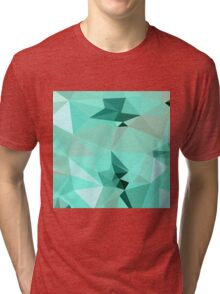 Caribbean Green Abstract Low Polygon Background Tri-blend T-Shirt