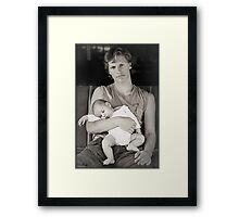 Who needs a crib if you have a big brother? Framed Print