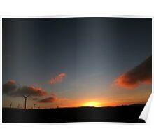 Sunset on Argyll Windfarm in Scotland Poster