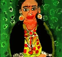 Mexican  Frida Folk Art Portrait by Kater