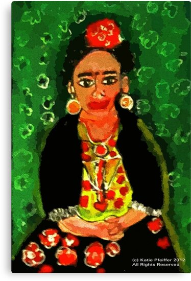 Mexican  Frida Folk Art Portrait by Kater