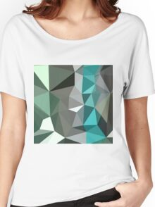 Persian Green Abstract Low Polygon Background Women's Relaxed Fit T-Shirt